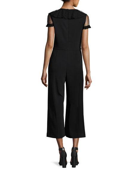 V-Neck Short-Sleeve Jumpsuit w/ Lace