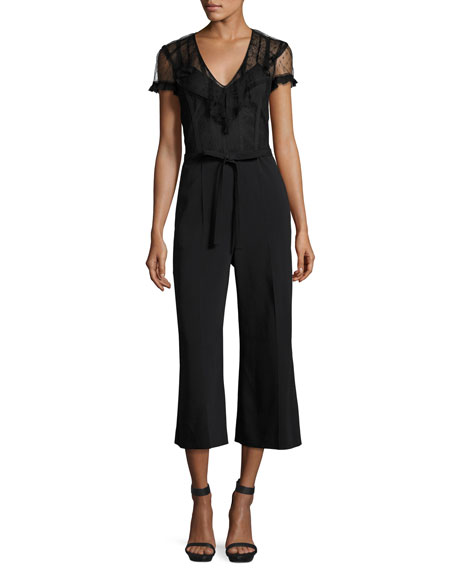 REDValentino V-Neck Short-Sleeve Jumpsuit w/ Lace