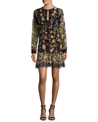 Split-Neck Long-Sleeve Floral-Print Ruffle Lace Dress