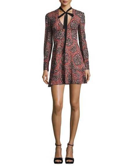 REDValentino V-Neck Tie Long-Sleeve Printed Silk Mini Dress