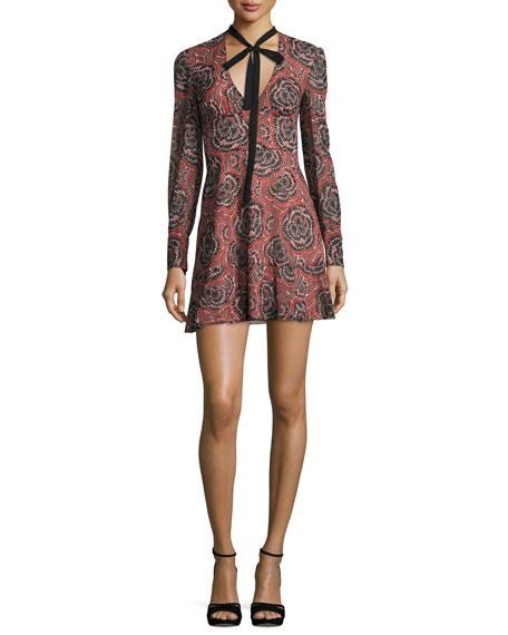 V-Neck Tie Long-Sleeve Printed Silk Mini Dress