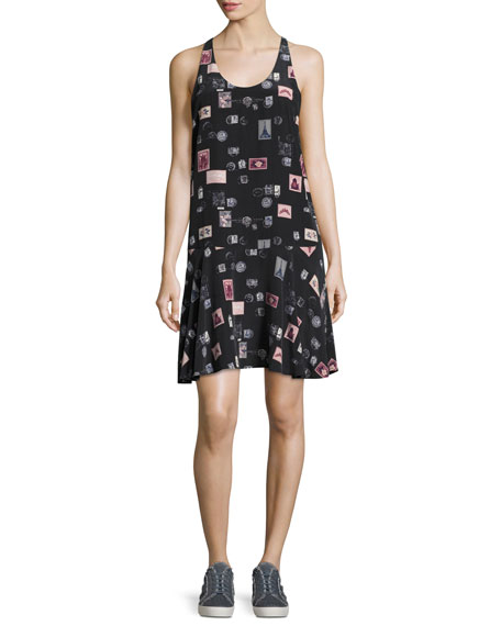 Joie Arianna Sleeveless Stamp-Print Shift Dress, Black