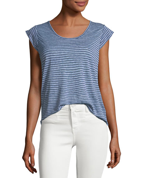 Joie Neyo Cap-Sleeve Striped Linen Top
