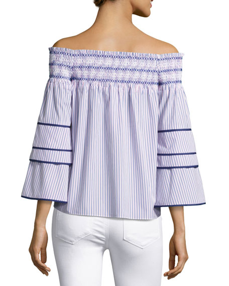 Largo Combo Striped Cotton Blouse, Blue-Pink