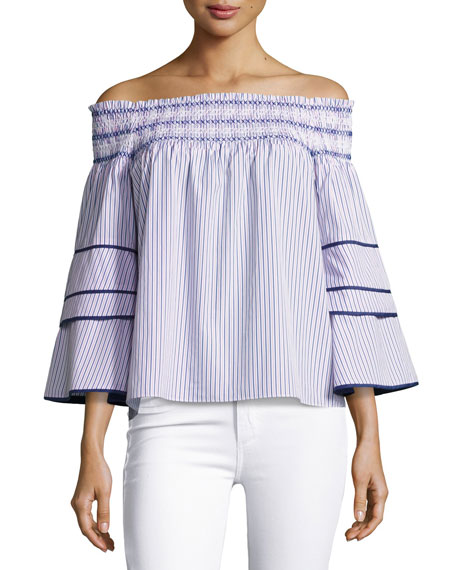Parker Largo Combo Striped Cotton Blouse, Blue-Pink