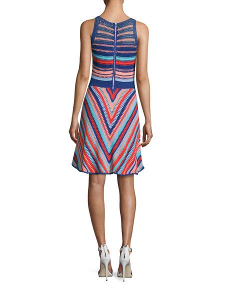 Viola Sleeveless Knit Cotton Dress, Blue Multi