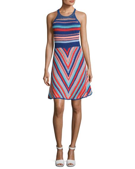 Parker Viola Sleeveless Knit Cotton Dress, Blue Multi