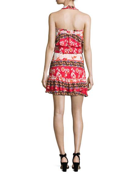Trisha Popover Floral Silk Mini Dress, Multi