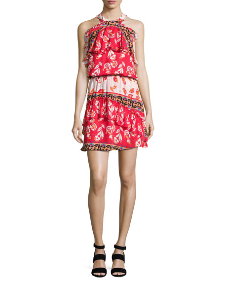 Parker Trisha Popover Floral Silk Mini Dress, Multi
