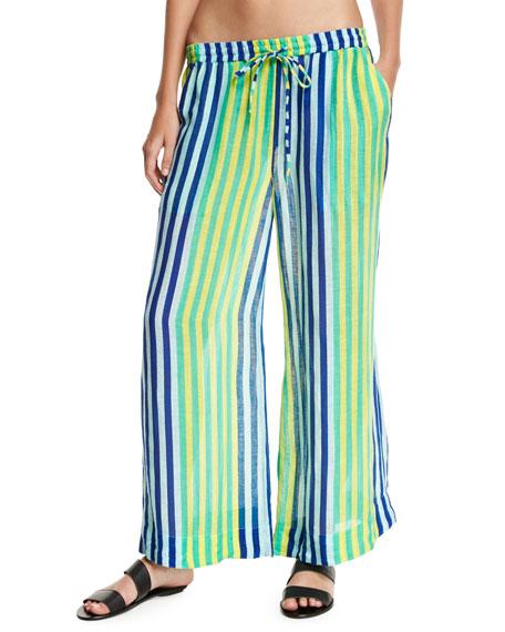 Diane von Furstenberg Beach Linen Culotte Pants, Blue