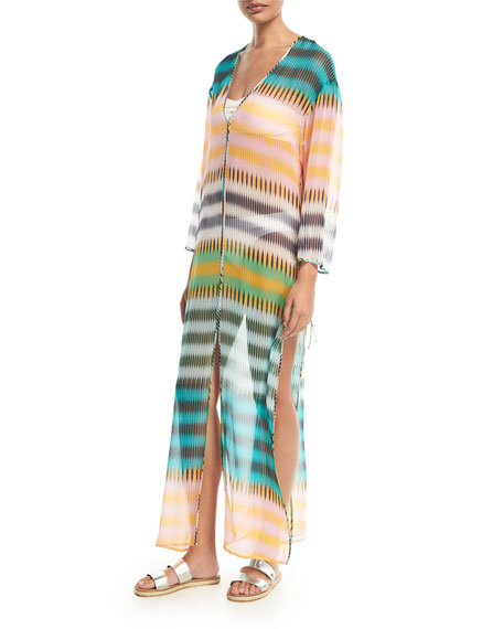 Diane von Furstenberg Striped Floor-Length Silk Dress, Yellow