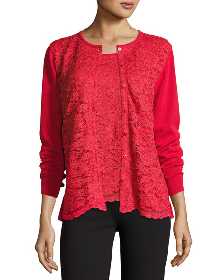Lace-Inset Button-Front Long-Sleeve Cardigan