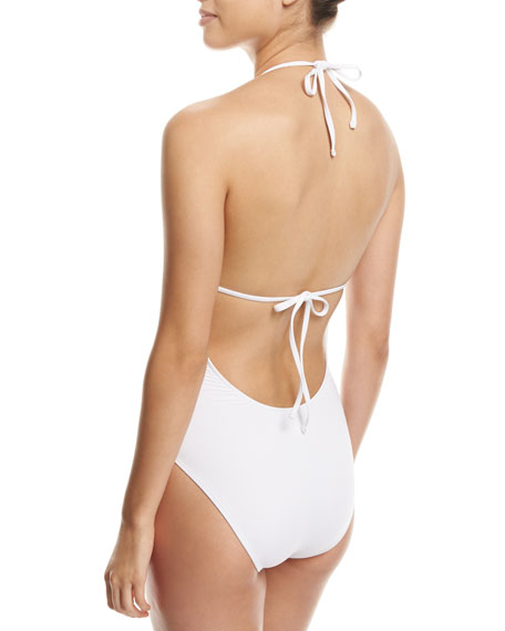 Eden Floral-Embroidered Halter One-Piece Swimsuit, White