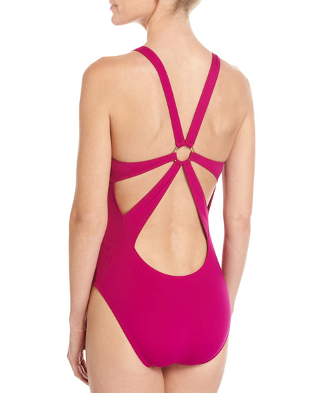 Deco Stud Embellished High-Neck One-Piece Swimsuit, Purple