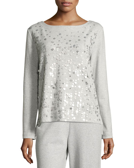 Joan Vass Luxe Cotton Interlock Sequin-Front Top, Petite