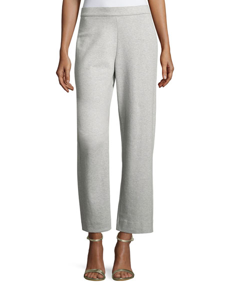 Joan Vass Stretch-Interlock Ankle Casual Pants, Petite