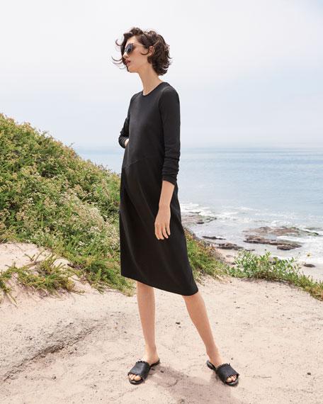 Long-Sleeve Crewneck Interlock Shift Dress, Petite