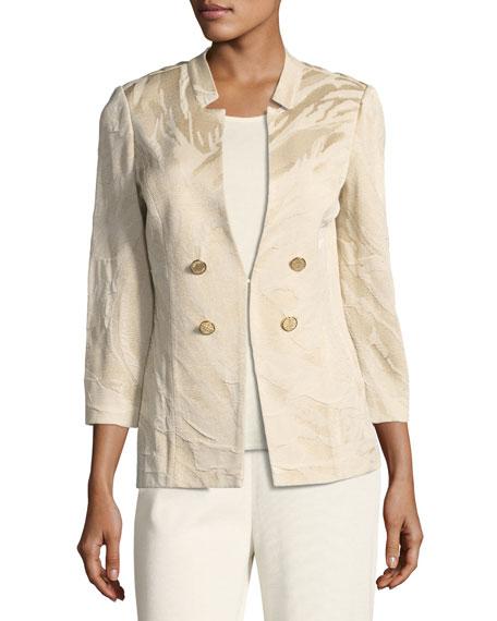 Textured Button-Detail Jacket, Petite