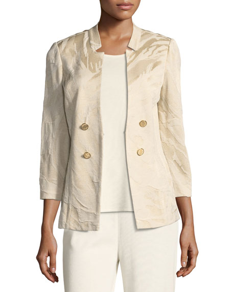 Textured Button-Detail Jacket, Petite