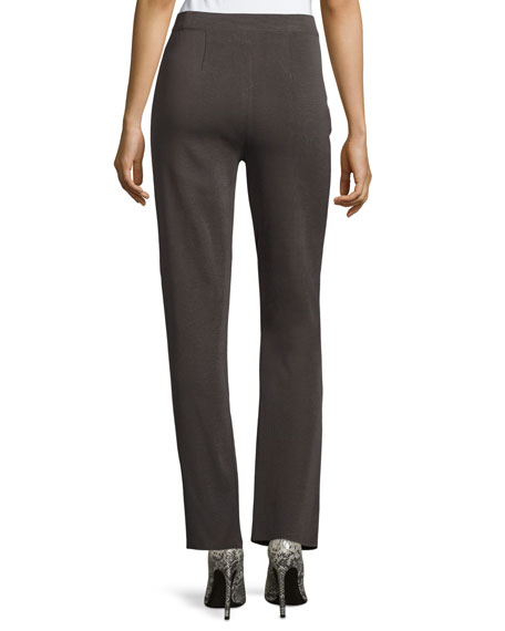 Straight-Leg High-Rise Pants, Petite