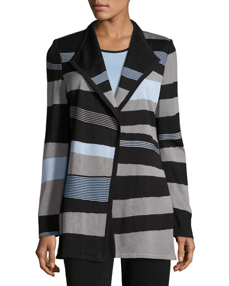 Solid Borders Striped Long-Sleeve Jacket, Petite