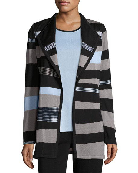 Misook Solid Borders Striped Long-Sleeve Jacket, Petite