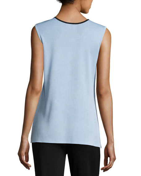 Contrast Scoop-Neck Knit Tank