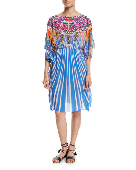 Gottex Sarsana Beach Dress Coverup, Blue Multi