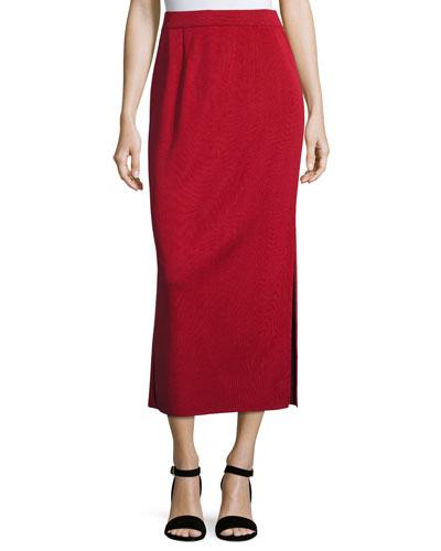 Long Straight Knit Skirt, Vintage Rose