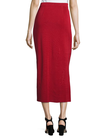 Long Straight Knit Skirt, Vintage Rose, Petite