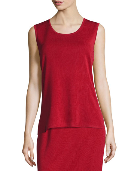 Misook Scoop-Neck Sleeveless Knit Tank, Petite