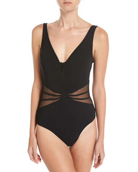 Grand Prix V-Neck One-Piece Swimsuit W/ Mesh, Black