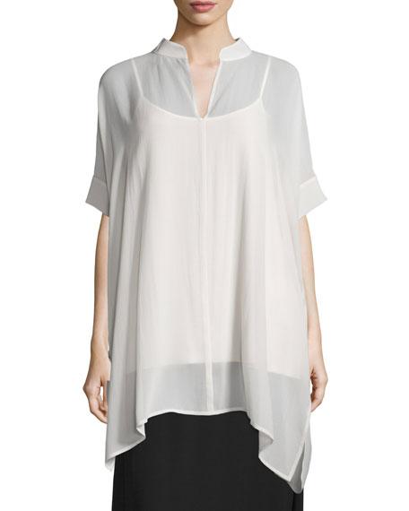 Eileen Fisher Short-Sleeve Sheer Boxy Tunic, Bone