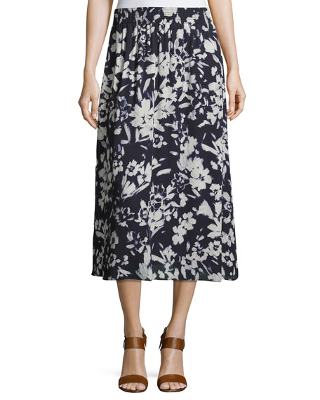 Lafayette 148 New York Camrie Floral-Print Midi Skirt