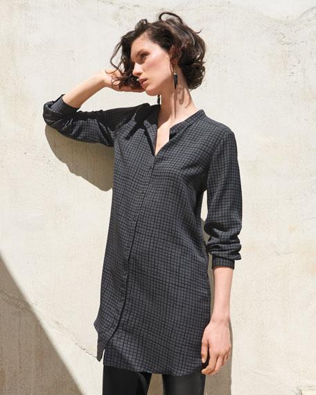 Grid-Printed Silk Crepe Mandarin Long Button-Front Shirt, Petite