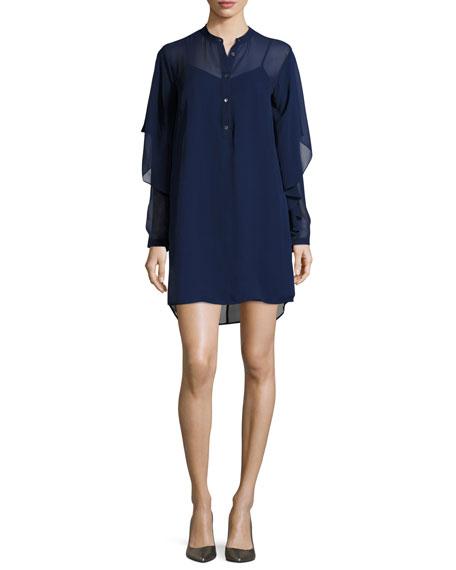 Robert Rodriguez Chiffon Slip Dress W/ Slip, Blue