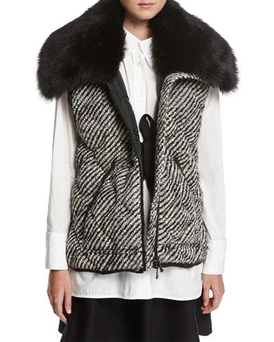 Eleagnus Tweed Quilted Vest w/ Fur Trim
