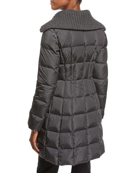 Davida Zip-Front Long-Sleeve Quilted Puffer Coat