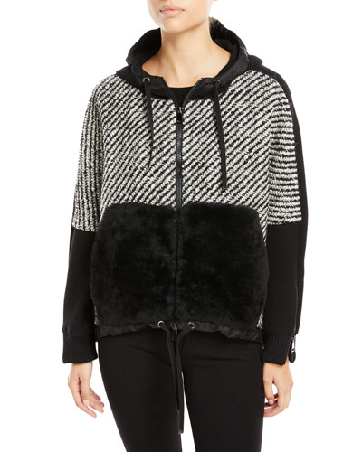 Maglia Fur-Trim Tweed Sweatshirt