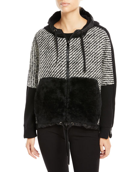 Moncler Maglia Fur-Trim Tweed Sweatshirt