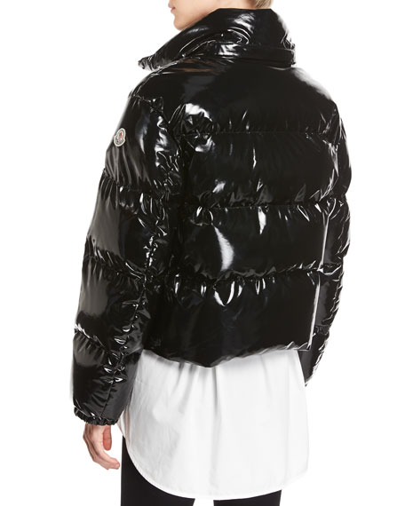 moncler black shiny jacket