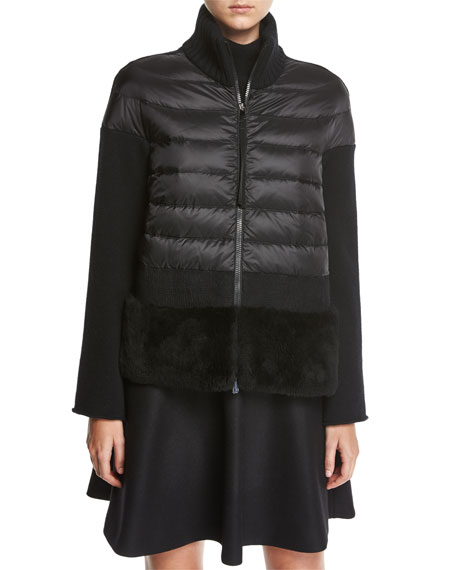 Moncler Shearling-Hem Combo Knit Jacket