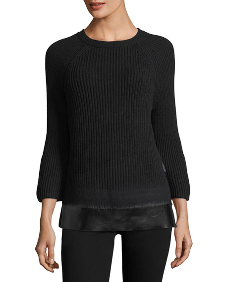Moncler Crewneck Bell-Sleeve Ribbed Wool-Cashmere Sweater w/