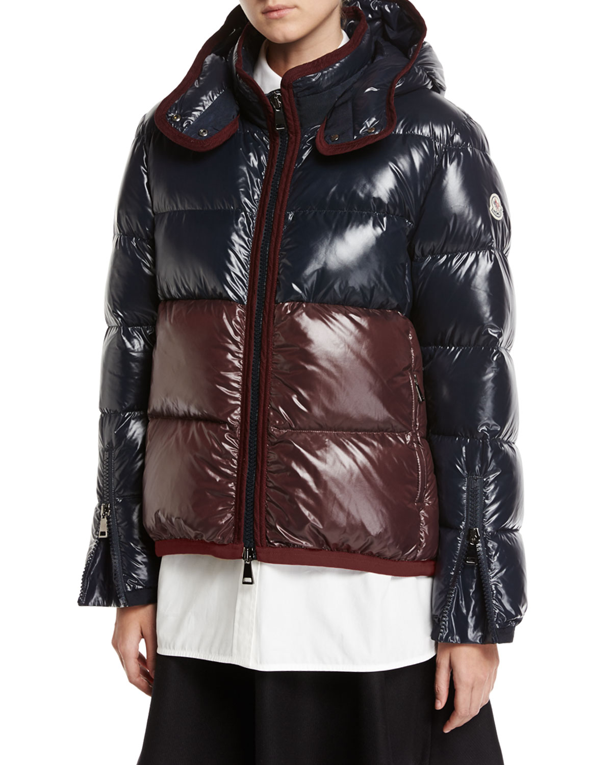 09dabc0ce36 Moncler Cotinus Colorblocked Shiny Quilted Down Coat