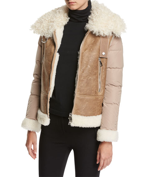 Image 2 of 3: Kilia Mixed-Media Shearling Puffer Coat, Stone