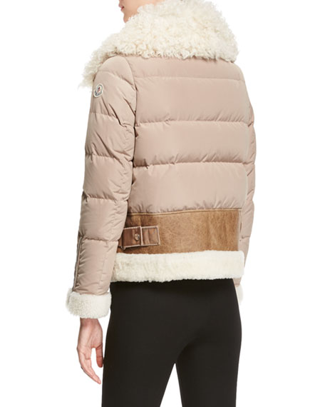 Kilia Mixed-Media Shearling Puffer Coat, Stone