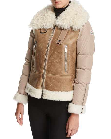 Moncler Kilia Mixed-Media Shearling Puffer Coat, Stone
