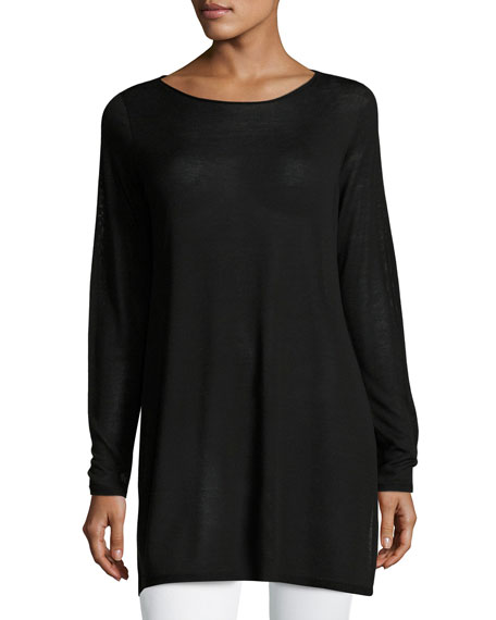 Eileen Fisher Long-Sleeve Seamless Knit Ballet-Neck Tunic, Plus