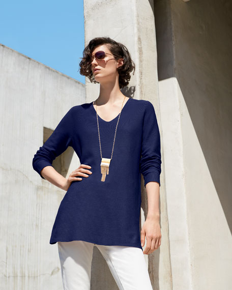 Crisp Cotton Links Long-Sleeve V-Neck Tunic, Plus Size