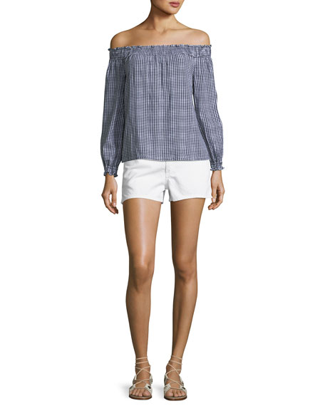Justine Mid-Rise Denim Shorts